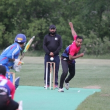 Cavaliers ICE bowling & fielding vs Regina Royals, T20 match at Grassick Park. Cavs won!