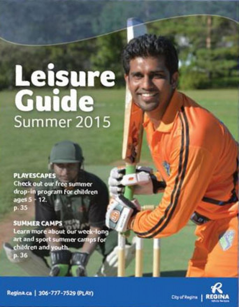 Cricket on the cover of City Of Regina's 2015 Summer Leisure Guide